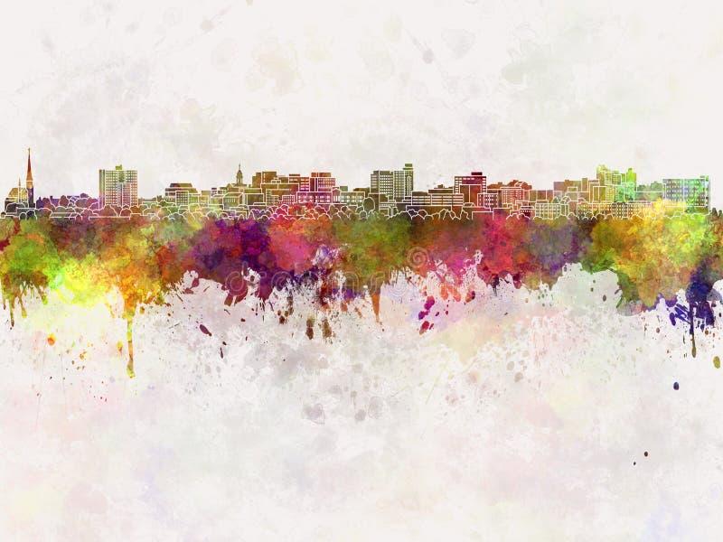 Süd-Portland-Skyline im Aquarell lizenzfreie abbildung