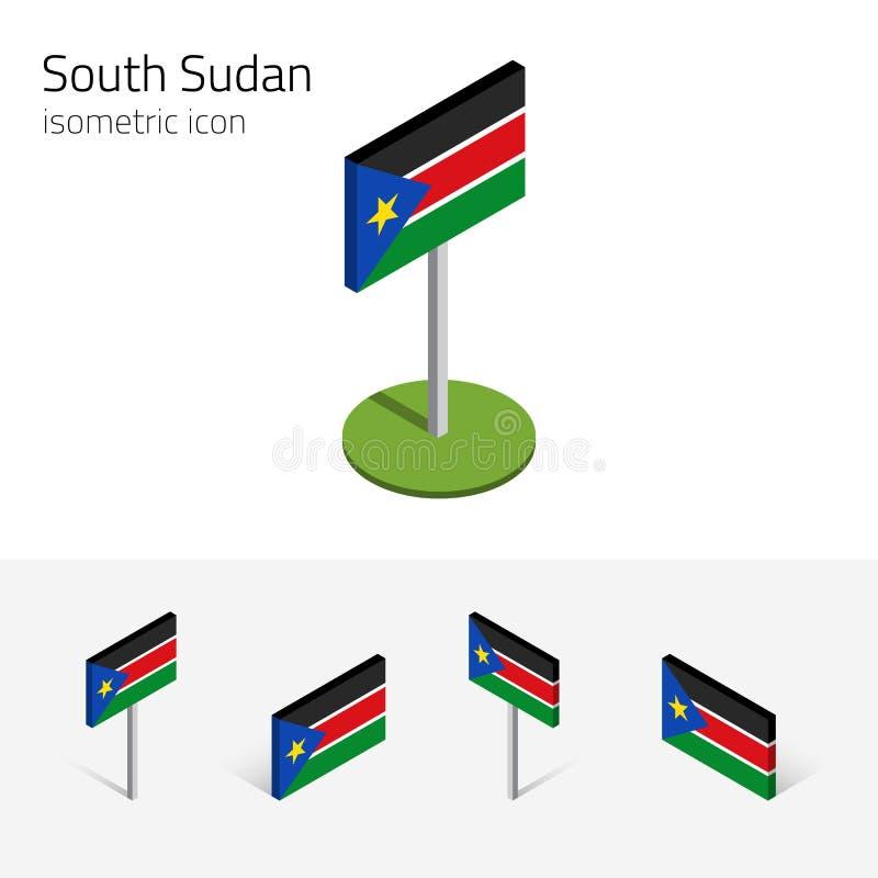 Süd-Sudan-Flagge, Vektorsatz von isometrischen Ikonen 3D lizenzfreie abbildung