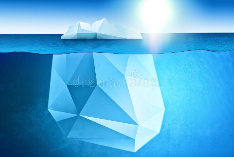 Süd- und Nordpol und alle Sachen bezogen sich - Unterwasseransicht des Eisbergs mit schönen Eismeerwasser um und Sonne auf backgr lizenzfreie stockfotografie
