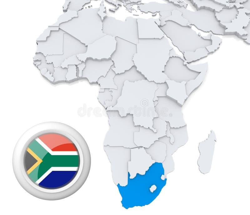 Südafrika auf Afrika-Karte stock abbildung