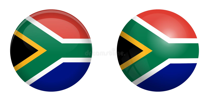 Südafrika-Flagge unter Knopf der Haube 3d und auf glattem Bereich/Ball stock abbildung