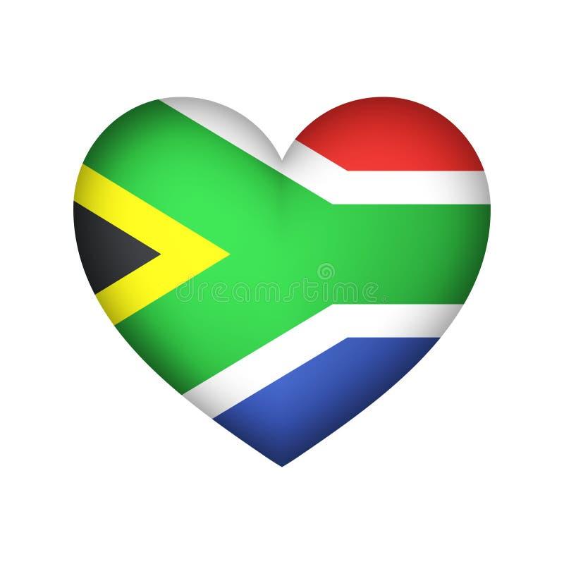 Südafrika-Flaggen-Herzform-Vektorillustration stock abbildung