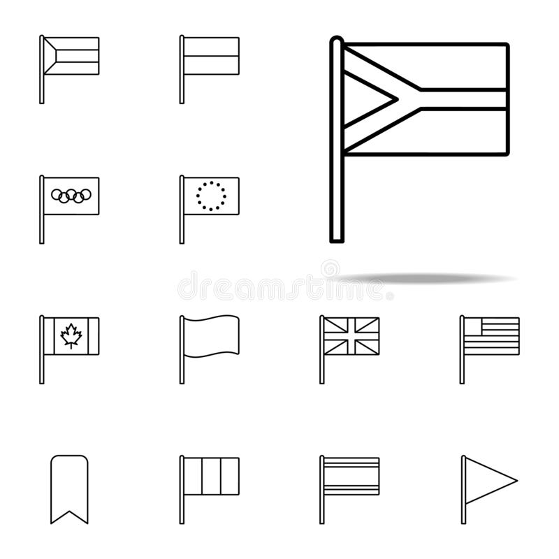 Südafrika-Ikone Flaggenikonen-Universalsatz für Netz und Mobile stock abbildung