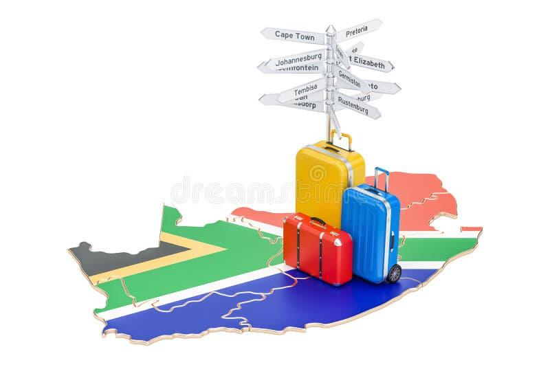 Südafrika-Reisekonzept Karte mit Koffern und Wegweiser, 3D vektor abbildung
