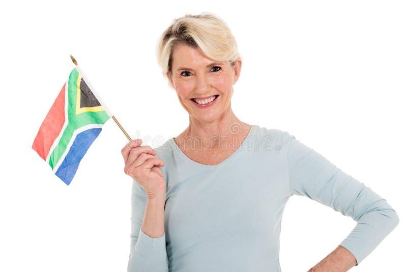 Südafrikanische Flagge der Frau stockbild