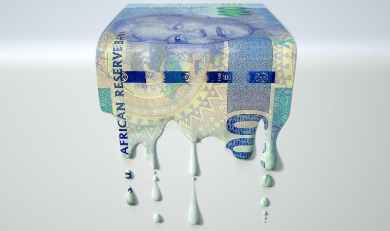 Südafrikanischer Rand Melting Dripping Banknote lizenzfreie stockfotografie