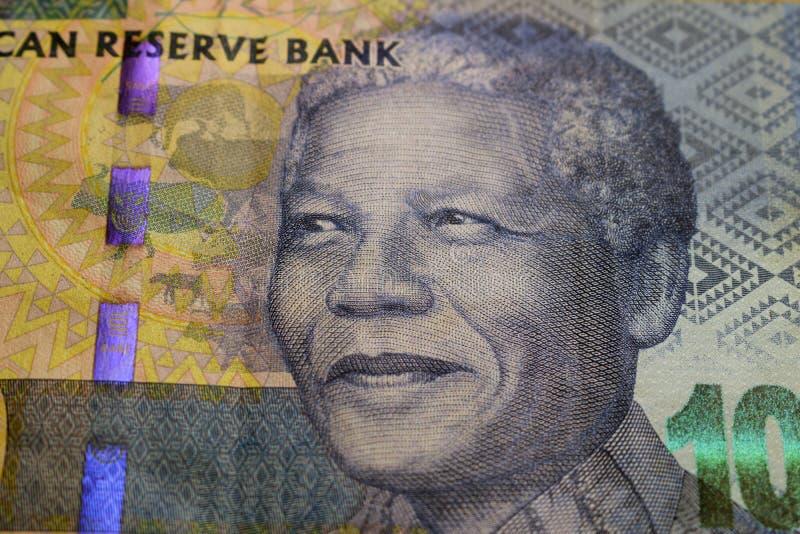 Südafrikanischer Rand mit Nelson Mandela stockbilder