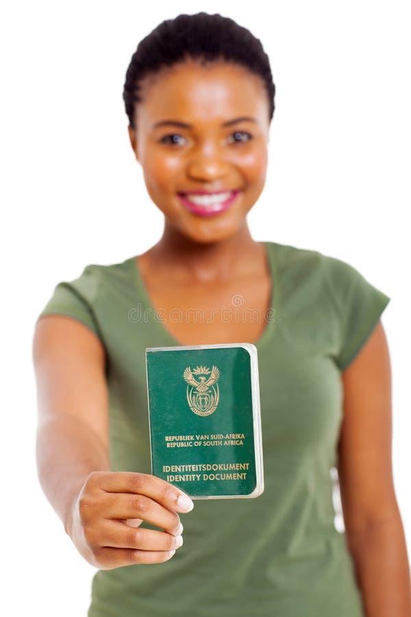 Südafrikanisches Identifikations-Buch stockfoto