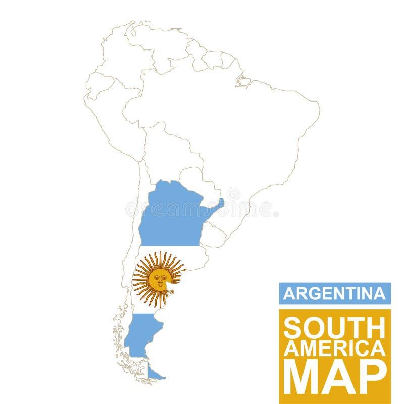 Südamerika Höhenlinienkarte mit hervorgehobenem Argentinien lizenzfreie abbildung