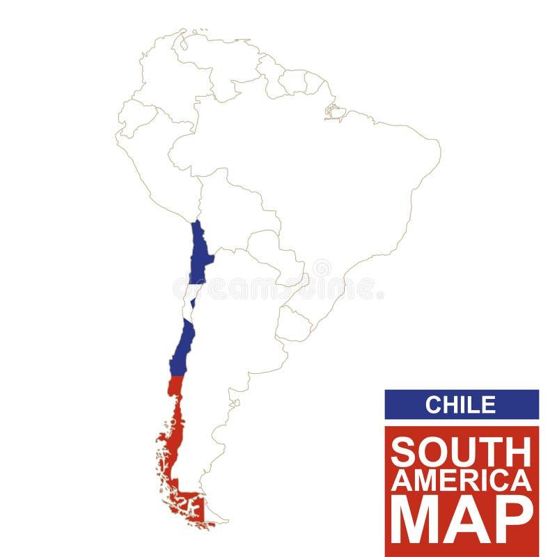 Südamerika Höhenlinienkarte mit hervorgehobenem Chile lizenzfreie abbildung