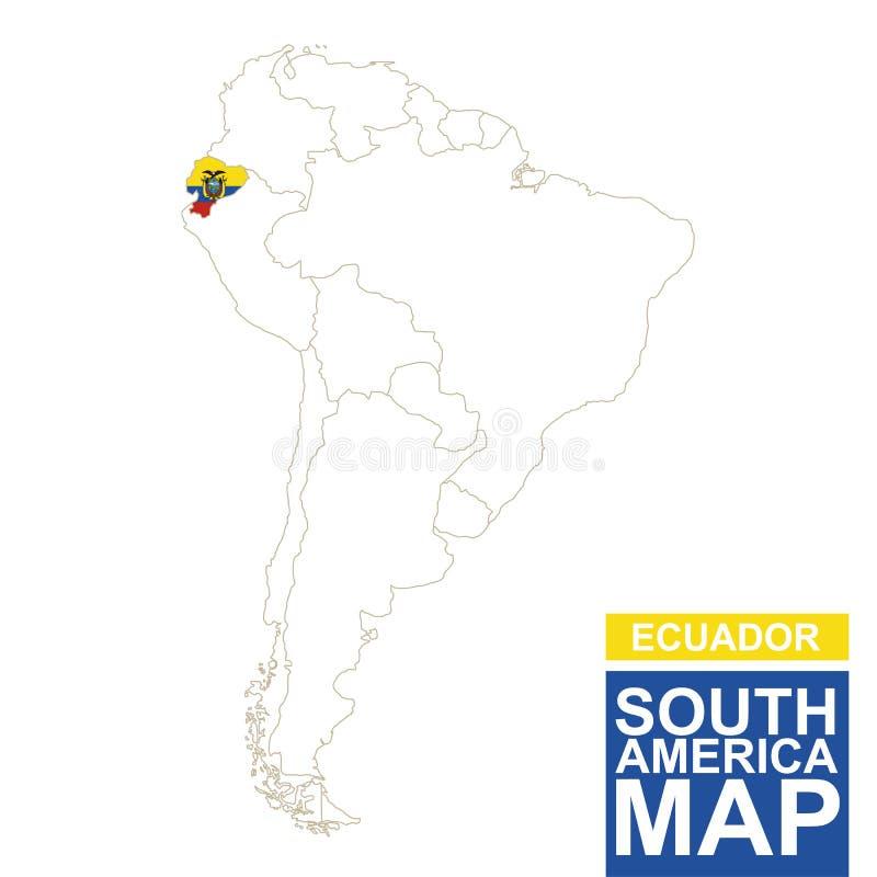 Südamerika Höhenlinienkarte mit hervorgehobenem Ecuador stock abbildung