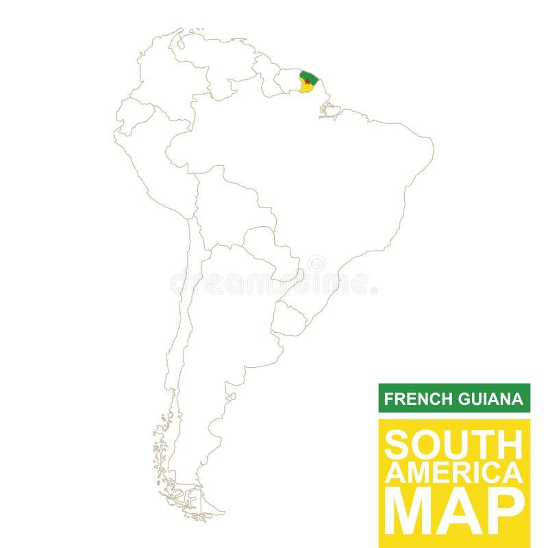 Südamerika Höhenlinienkarte mit hervorgehobenem Französisch-Guayana vektor abbildung