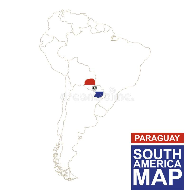 Südamerika Höhenlinienkarte mit hervorgehobenem Paraguay stock abbildung