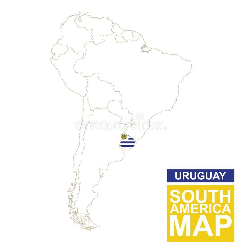 Südamerika Höhenlinienkarte mit hervorgehobenem Uruguay stock abbildung