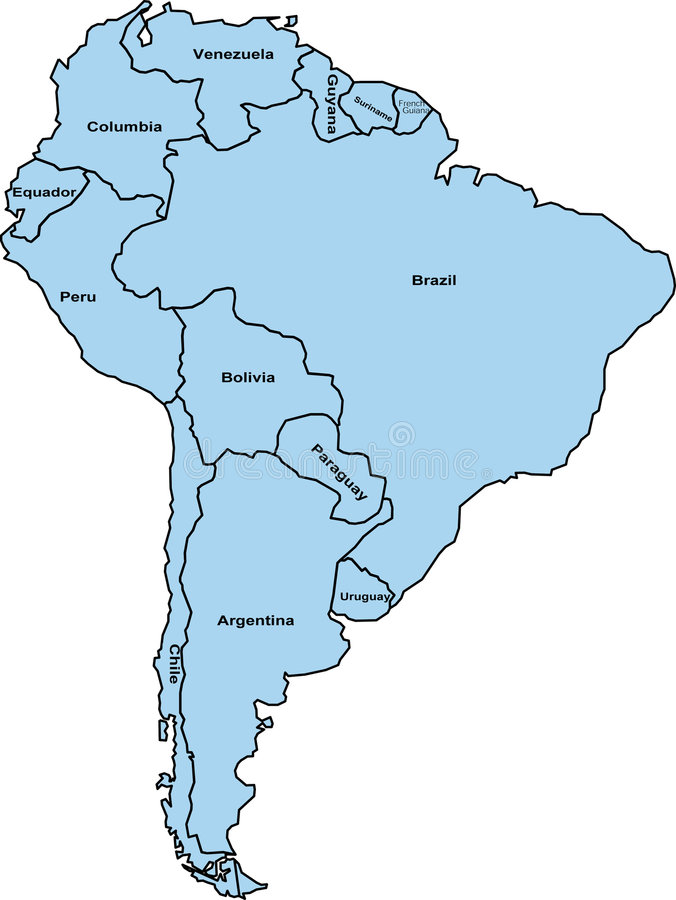 Südamerika-Karte lizenzfreie abbildung
