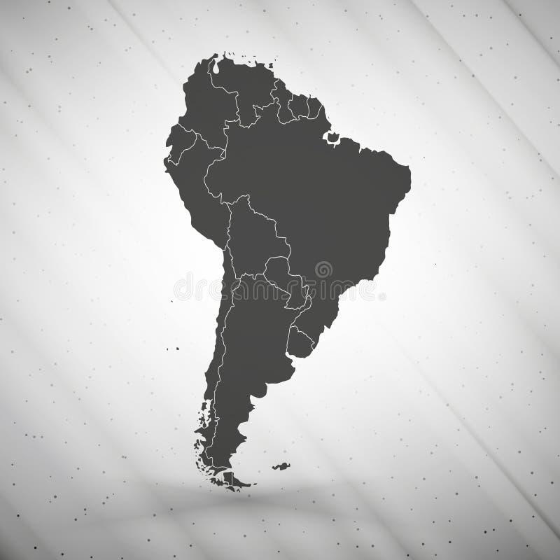 Südamerika-Karte auf grauem Hintergrund, Schmutz stock abbildung