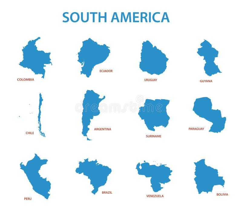 Südamerika - Karten von Ländern vektor abbildung