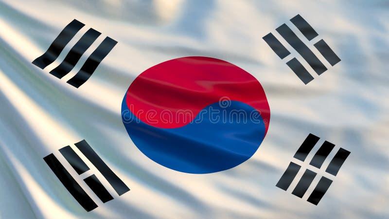 Südkorea-Flagge Illustration 3d der wellenartig bewegenden Flagge von Südkorea lizenzfreie abbildung