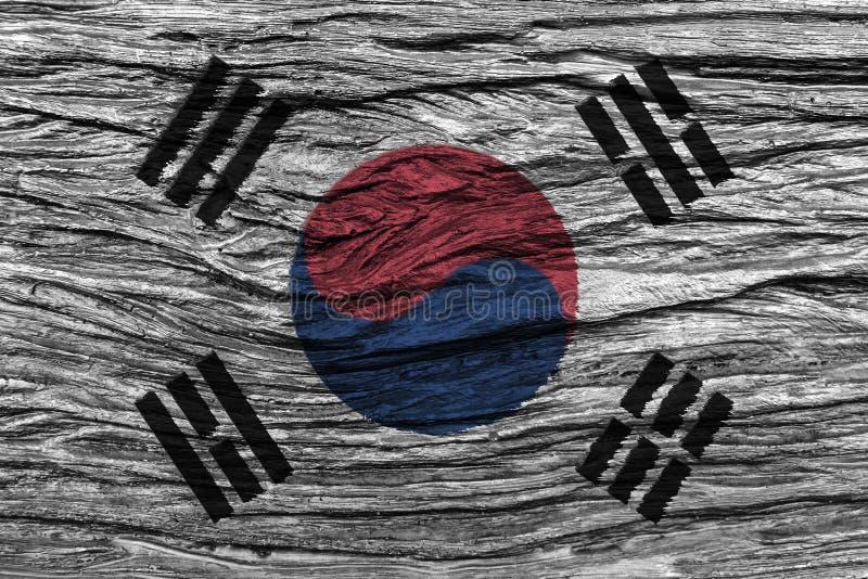 Südkorea-Flagge mit hohem Detail des alten hölzernen Hintergrundes vektor abbildung