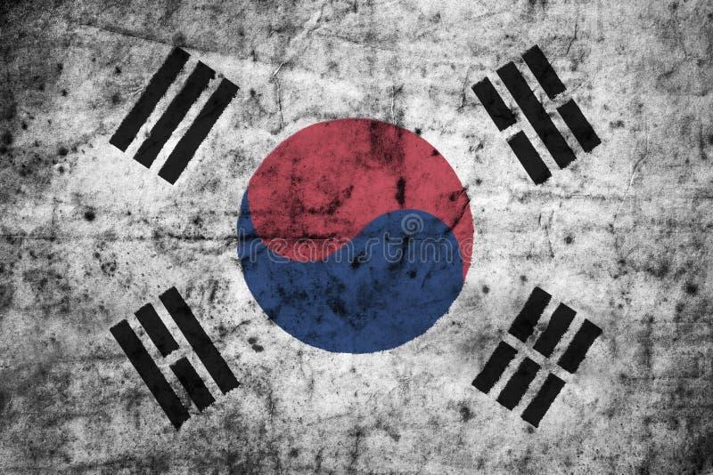Südkorea-Flagge mit hohem Detail des alten schmutzigen zerknitterten Papiers Abbildung 3D stock abbildung