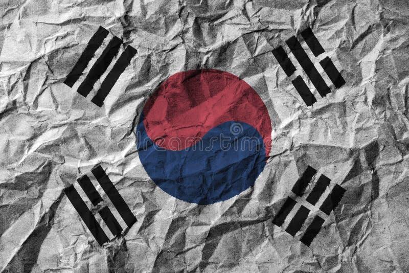 Südkorea-Flagge mit hohem Detail des zerknitterten Papiers lizenzfreie abbildung