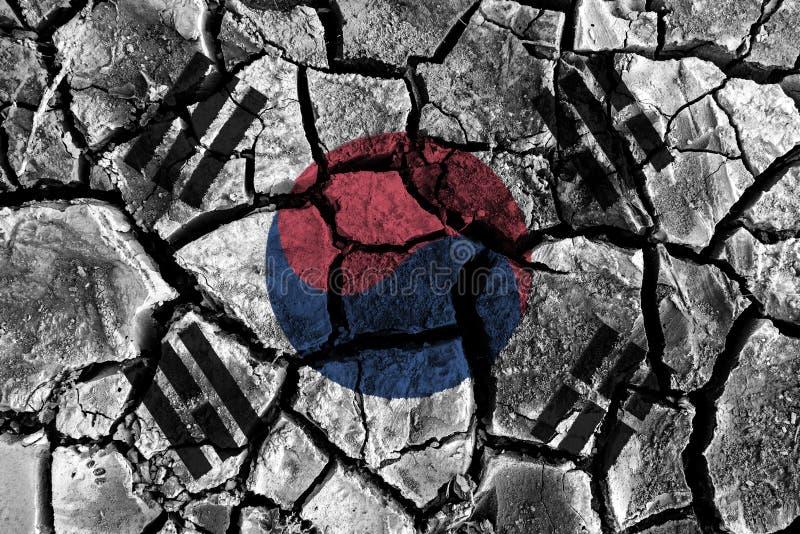 Südkorea-Flaggenmalerei auf hohem Detail knackte Boden lizenzfreie abbildung