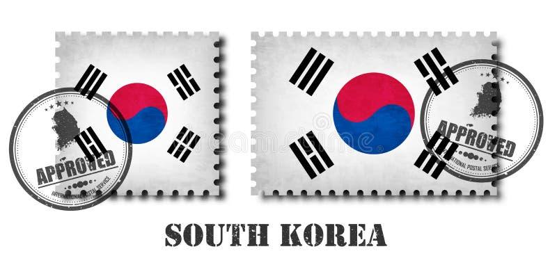 Südkorea-Flaggenmuster-Briefmarke mit alter Kratzerbeschaffenheit des Schmutzes und fügen eine Dichtung auf Hintergrund hinzu Sch lizenzfreie abbildung