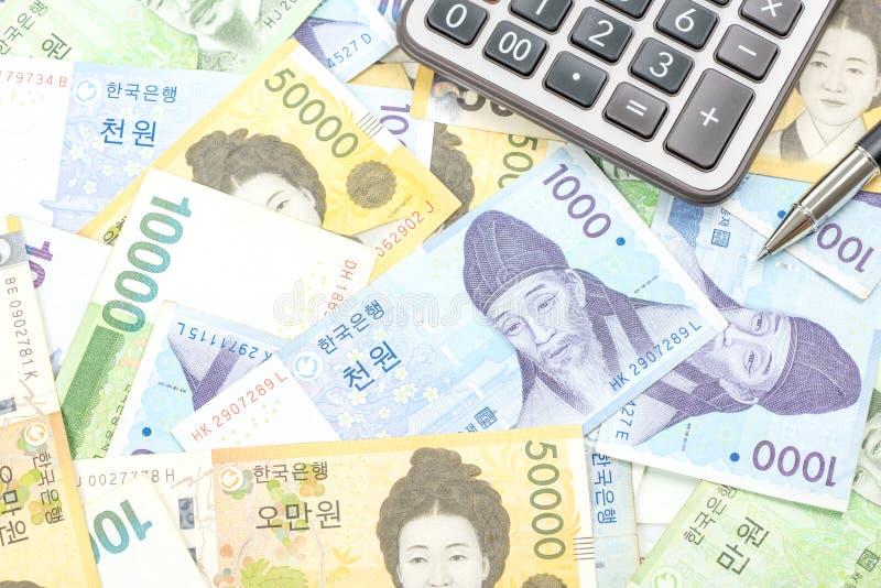 Südkorea gewann Haushaltpläne im unterschiedlichen Wert stockfotos