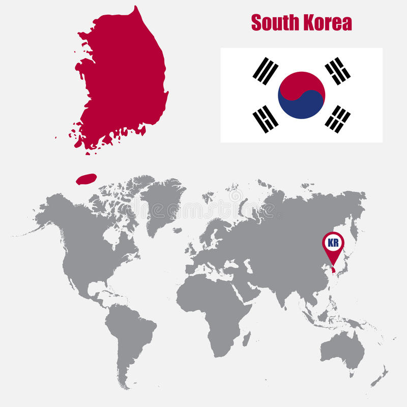 Südkorea-Karte auf einer Weltkarte mit Flaggen- und Kartenzeiger Auch im corel abgehobenen Betrag vektor abbildung