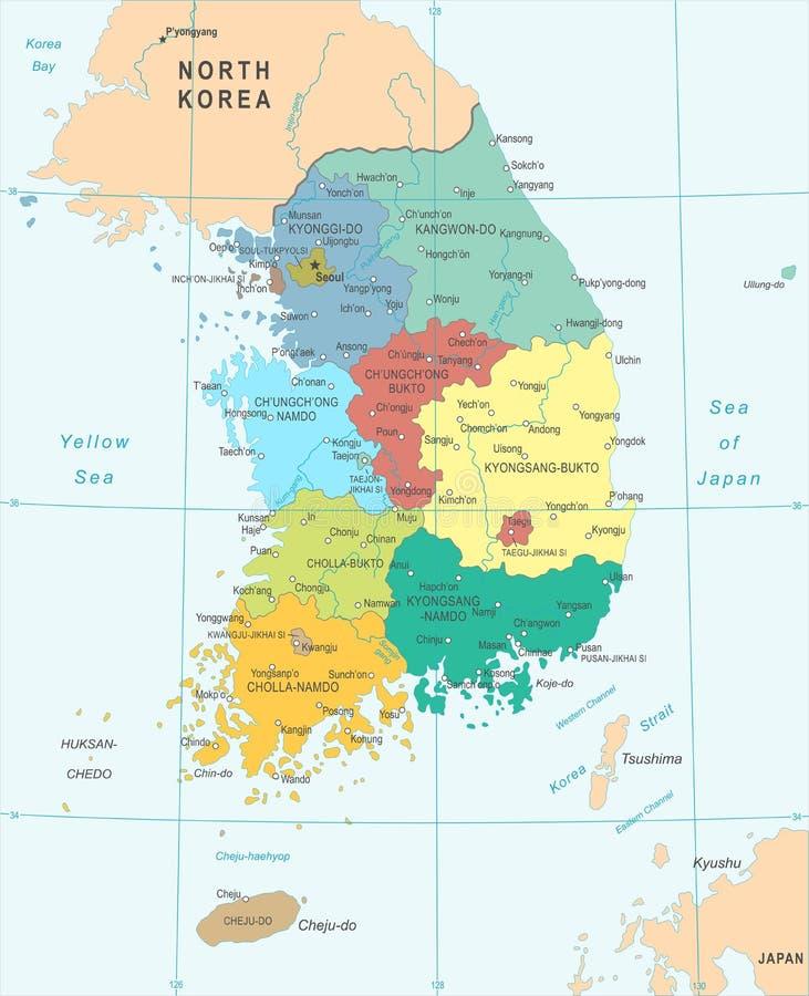 Südkorea-Karte - Vektor-Illustration vektor abbildung