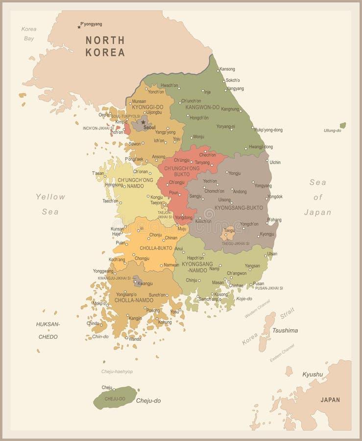 Südkorea-Karte - Weinlese-Vektor-Illustration vektor abbildung