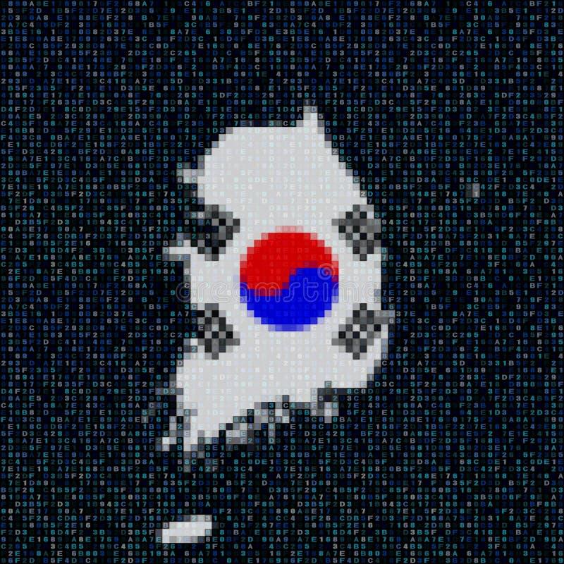 Südkorea-Kartenflagge auf Hexadezimalcodeillustration lizenzfreie abbildung