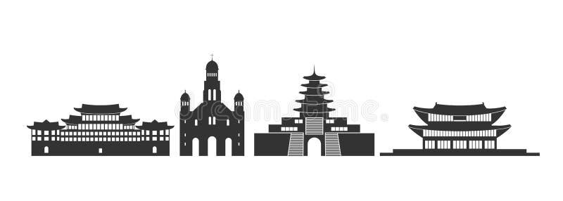 S?dkorea-Logo Lokalisierte s?dkoreanische Architektur auf wei?em Hintergrund lizenzfreie abbildung