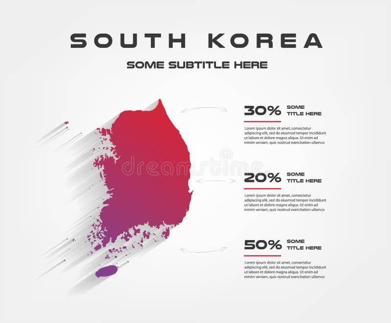 Südkorea-Prozentsatz infographics, 50 30 20 Element des Diagramms, Diagramm mit 3 Wahlen - Teile, Prozesse, Zeitachse vektor abbildung