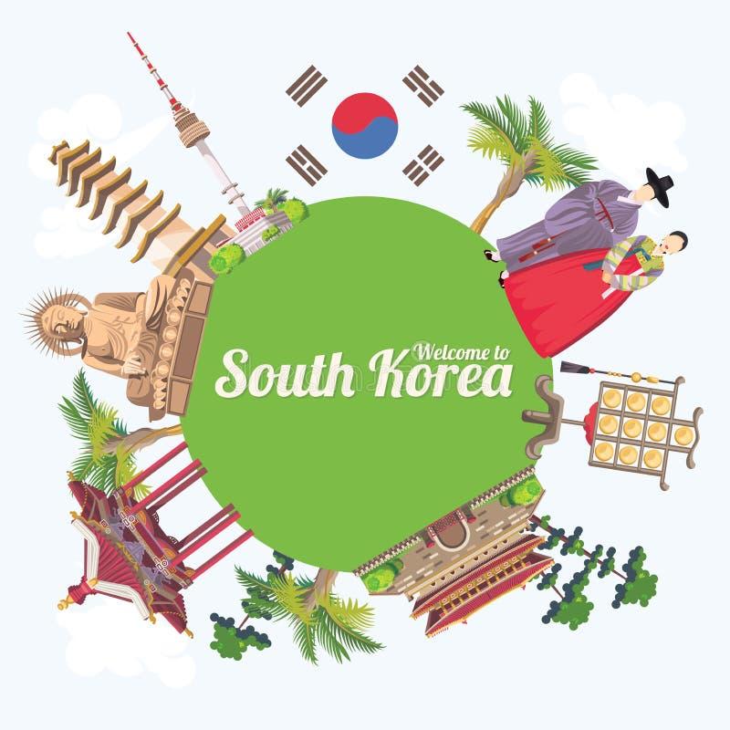 Südkorea-Reiseplakat mit grüner Erde, Pagoden, Statuen Korea-Reisefahne mit koreanischen Gegenständen stock abbildung