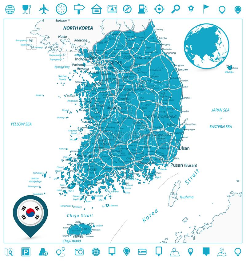 Südkorea-Straßenkarte-und Navigations-Ikonen stock abbildung