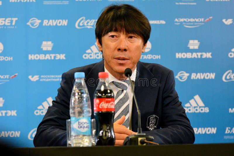 Südkoreanischer nationaler Fußballteamtrainer Shin Tae-Yong an a vor lizenzfreies stockbild