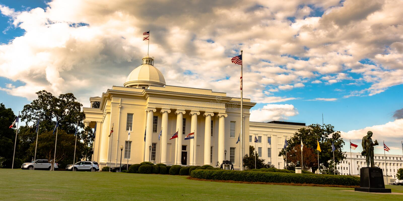 Südliche Seite von AL State Capital Building stockbilder