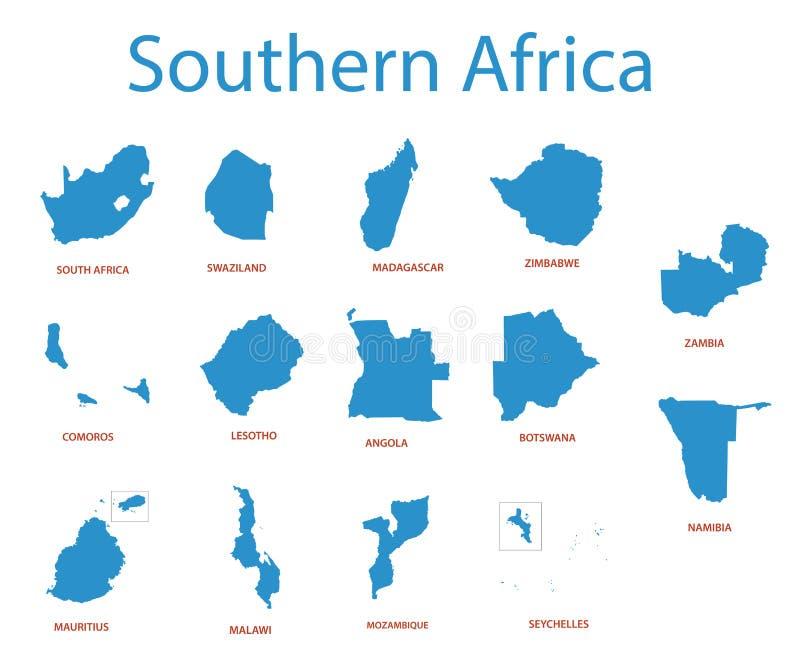 Südlicher Afrika - Karten von Gebieten lizenzfreie abbildung