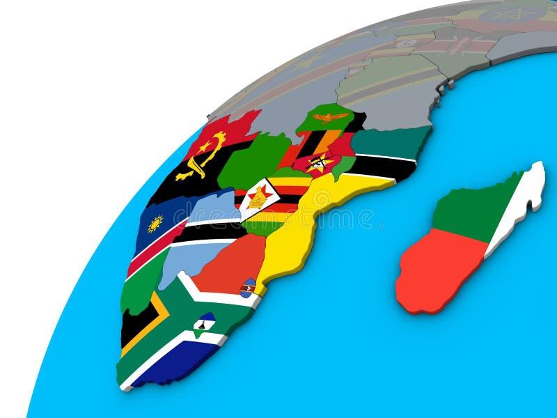 Südlicher Afrika mit Flaggen auf Kugel 3D vektor abbildung