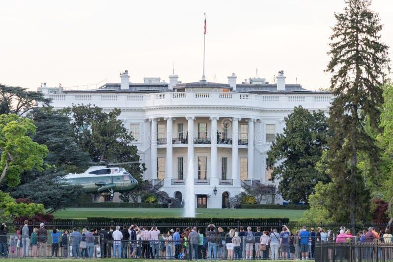 Südrasen des Weißen Hauses mit VH-3D Sea King Helicopter stockfoto