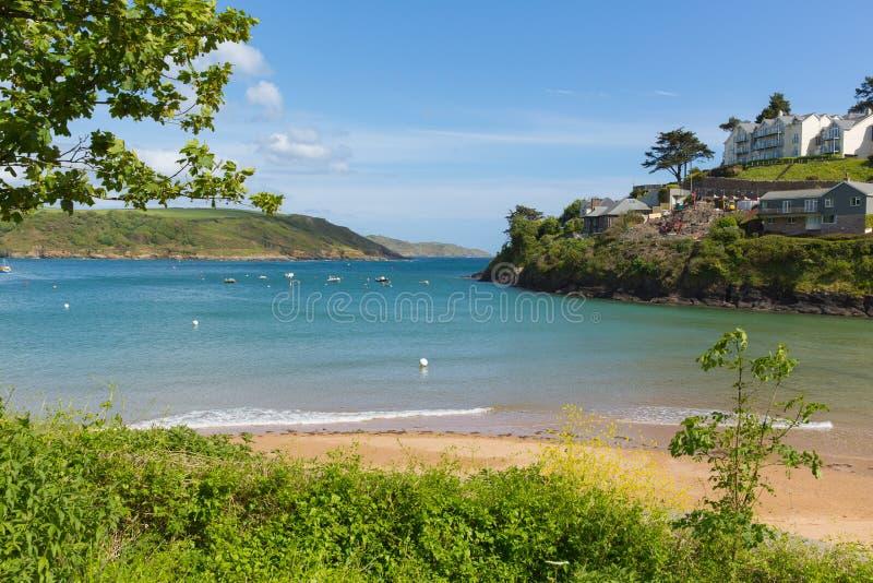 Südsande setzen BRITISCHEN Strand Salcombe Devon in der Mündung im Sommer auf den Strand lizenzfreies stockfoto