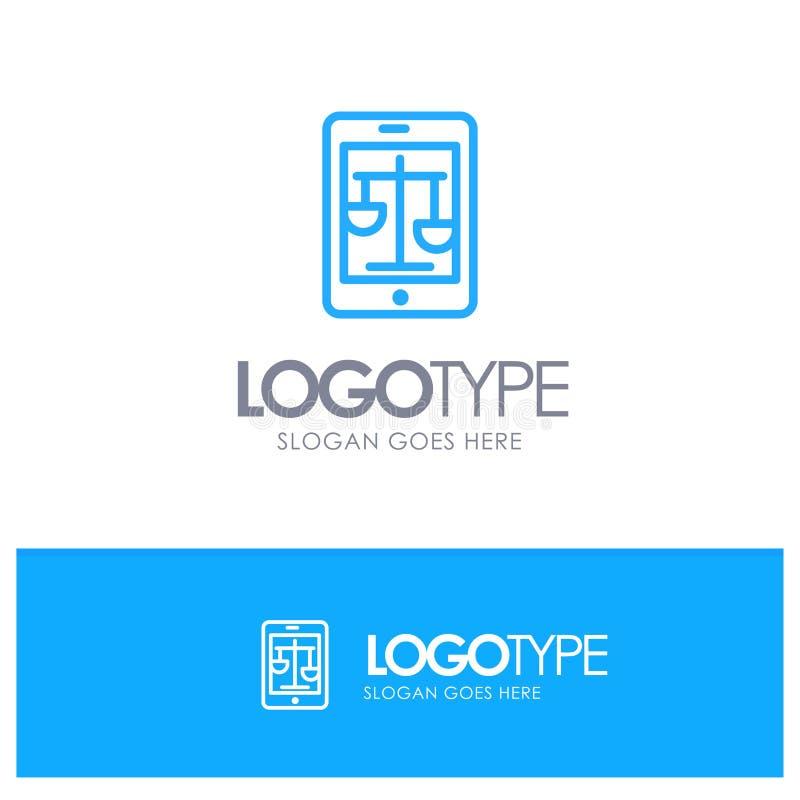 Sąd, internet, prawo, Legalny, Online Błękitny konturu logo z miejscem dla tagline ilustracji