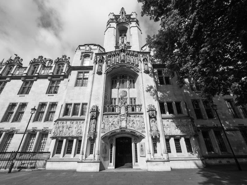 Sąd Najwyższy w Londyński czarny i biały obrazy stock