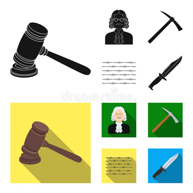 Sądzi, drewniany młot, drut kolczasty, oskard Więzienie ustalone inkasowe ikony w czarnym, mieszkanie symbolu stylowy wektorowy z ilustracji