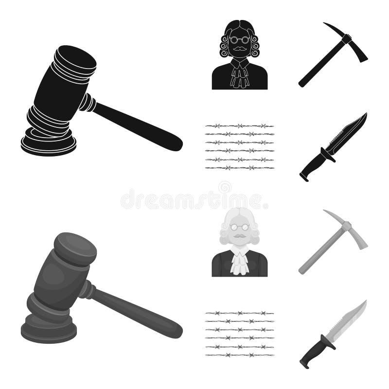 Sądzi, drewniany młot, drut kolczasty, oskard Więzienie ustalone inkasowe ikony w czarnym, monochromu symbolu stylowy wektorowy z royalty ilustracja