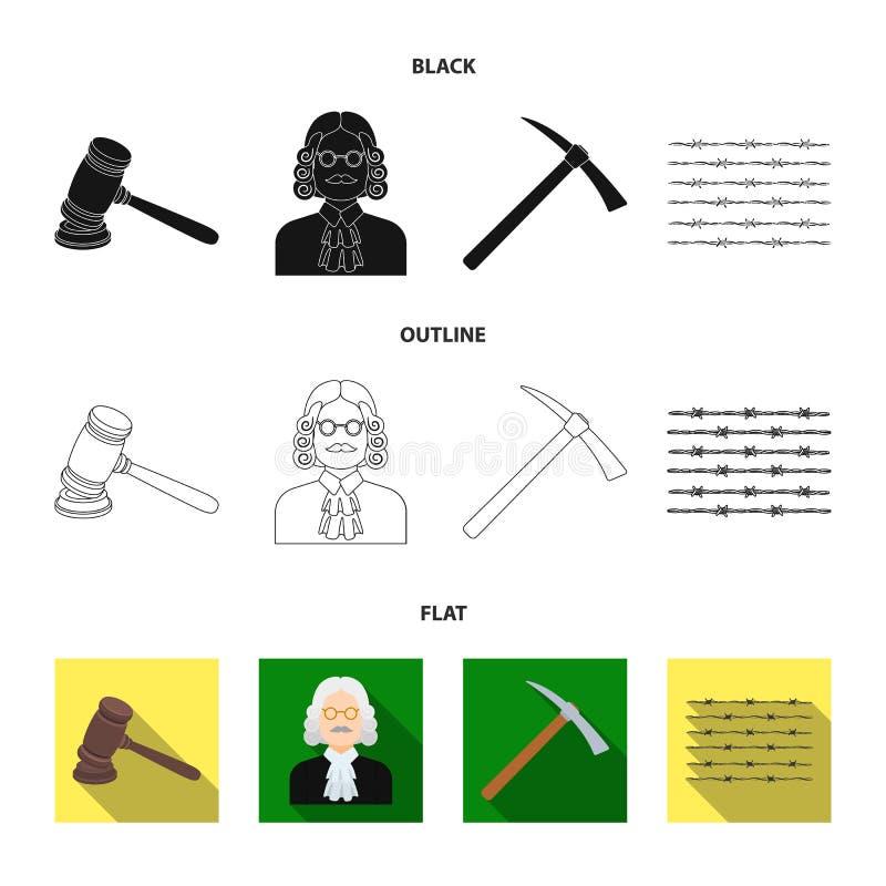 Sądzi, drewniany młot, drut kolczasty, oskard Więzienie ustalone inkasowe ikony w czarnym, płaski, konturu symbolu stylowy wektor royalty ilustracja