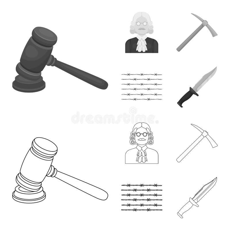 Sądzi, drewniany młot, drut kolczasty, oskard Więzienie ustalone inkasowe ikony w konturze, monochromu symbolu stylowy wektorowy  royalty ilustracja
