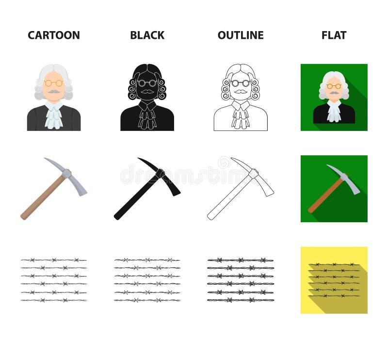 Sądzi, drewniany młot, drut kolczasty, oskard Więzienie ustalone inkasowe ikony w kreskówce, czerń, kontur, mieszkanie stylowy we ilustracji