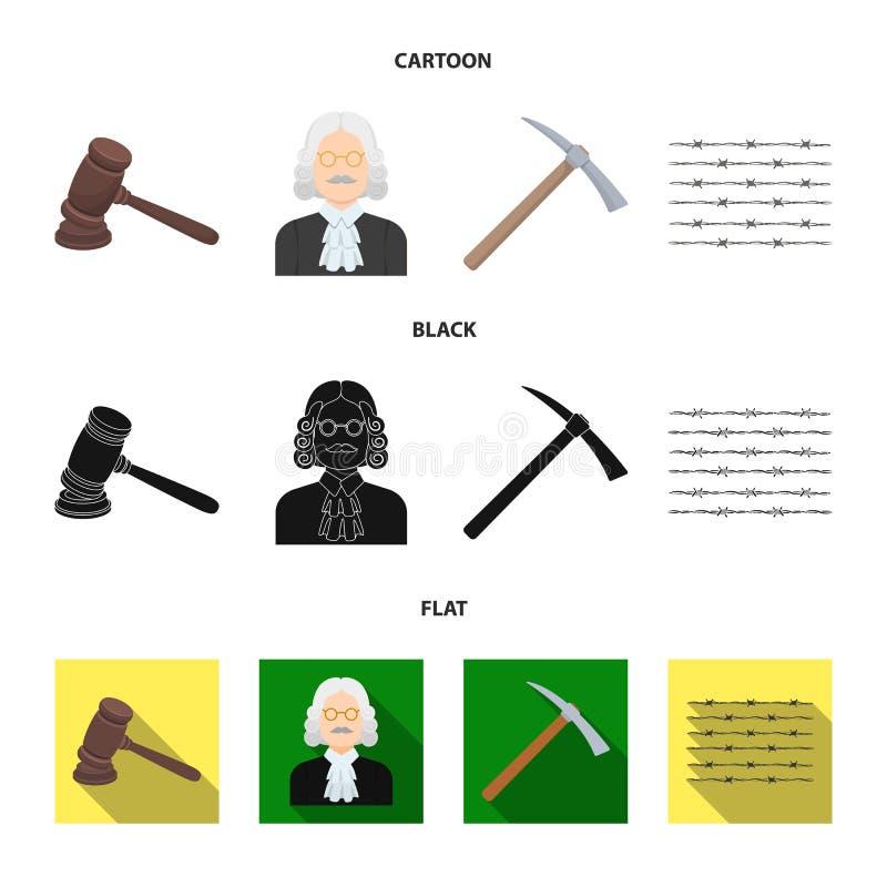 Sądzi, drewniany młot, drut kolczasty, oskard Więzienie ustalone inkasowe ikony w kreskówce, czerń, mieszkanie symbolu stylowy we ilustracja wektor